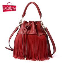 BVLRIGA Luxury Handbags Women Bags Designer Red Tassel Bucket Bag Women Leather Handbags Women Messenger Bags Famous Brand tote