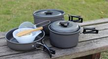 (10 pieces/set) Stainless Steel Outdoor Camping Hiking Cookware Backpacking Cooking Set Picnic Bowl Pot Pan Set