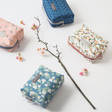 2017 Travel Cosmetic Bag Floral Pattern Make up Bag Zipper Elegant Drum Waterproof Bags Makeup Organizer Storage Kit