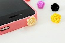 Wholesale Rose Dust Plug For Iphone Dust Cap For 3.5mm Plug Mobile Phone Free Shipping 1000pcs