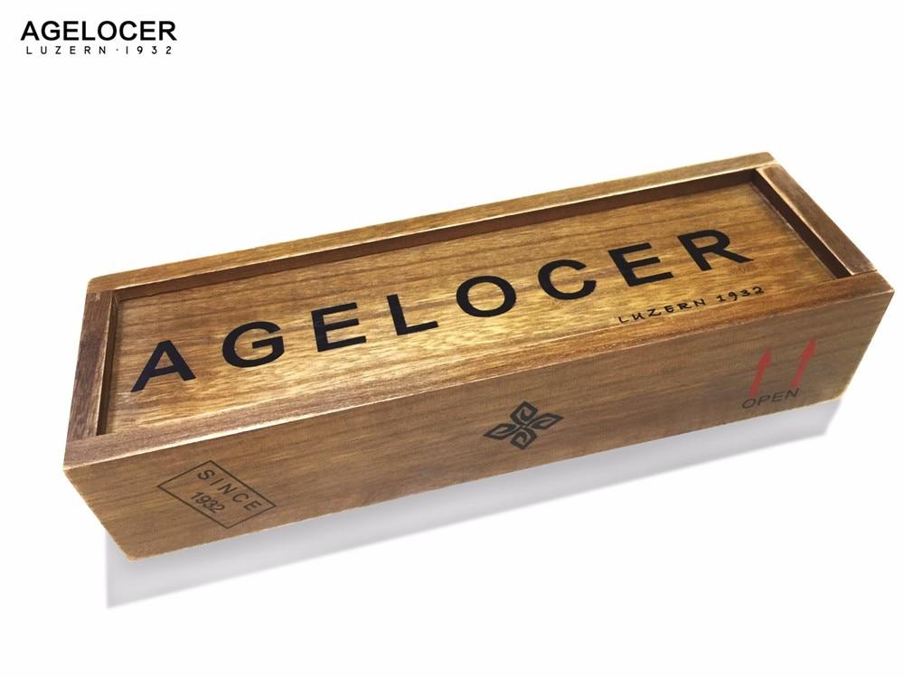AGELOCER Original Wooden Case Dress Men Women Rectangle Shape Original Watch Box Wood Gift Boxes<br>