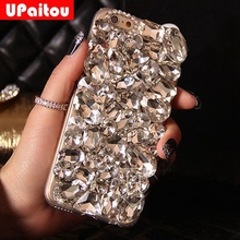 UPaitou DIY 3D Luxury Bling Crystal Rhinestone Back Case for Samsung Galaxy S8 S4 S5 S6 S7 Edge Plus Note 4 5 Diamond Case Cover(China)