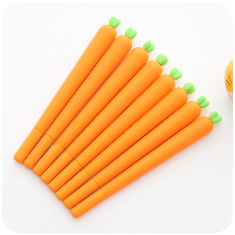 24 pcs/Lot Novelty Carrots gel pen Silicone body Black ink Cute Vegetable stationery Office school supplies kawaii gel pen<br>