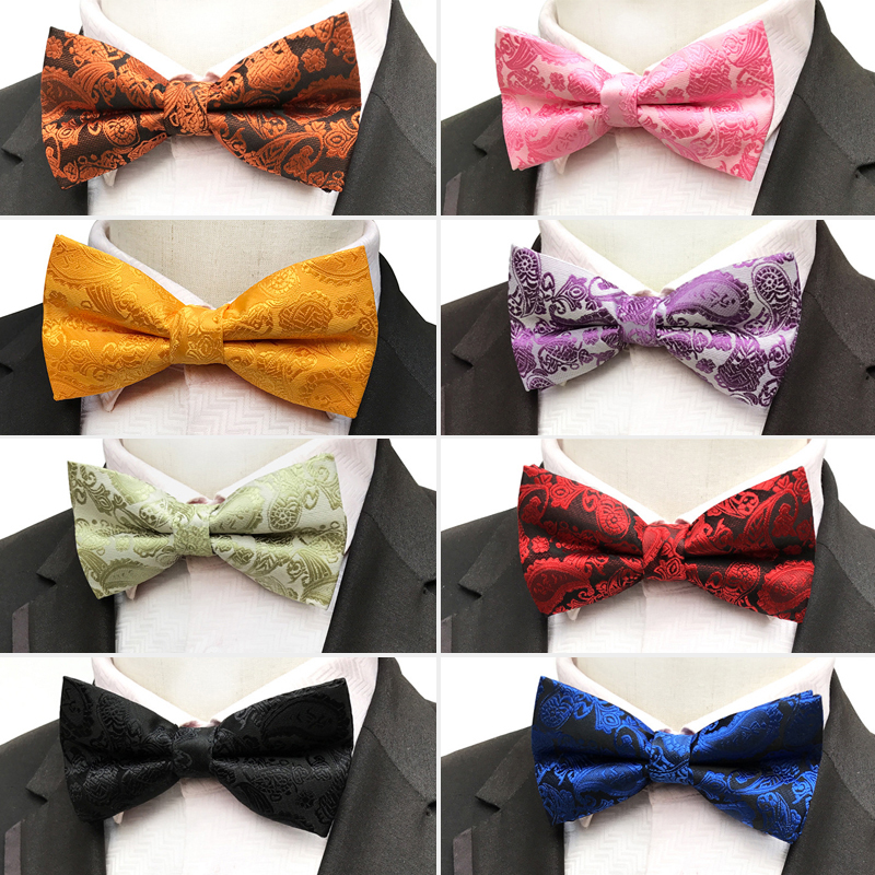 High Quality Men's Polyester Silk Bow Ties Man Bowtie Paisley Print Butterfly Bowknot Groom Wedding Party Accessories Bows Gift(China)