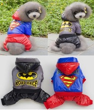 5pcs/lot   Factory Sale Superman Batman Pet Dog thickness coat warm jacket hoody Outerwears clothes New year clothes
