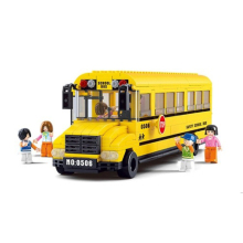 DIY Mini Building Nano blocks,children gifts,Educational toys,model,0506,funny yellow mini school bus,city series,Sluban Blocks