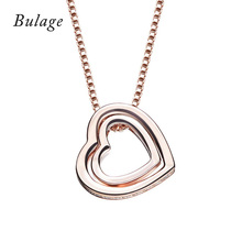 Bulage double heart-shaped pendant necklace Crystal From Swarovski Lovers's Jewelry Valentines Gift Wholesale Gold Color(China)