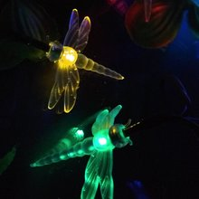 Novelty Dragonfly Solar LED Strings Light Party Holidays Christmas Decoration Lights Mariage Solaire Lumiere Outdoor Waterproof(China)