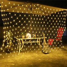 96 LEDs RGB Fairy String Light 1.5mx1.5m Net Mesh Garland Lamp Xmas New Year Garden Curtain Wedding Party Holiday Decor Lighting(China)