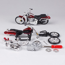 Maisto 1:18 Simulation Motorcycle Toy, Diecast & ABS DIY Assembled Motorcycle Kits, Harley 2000 FXSTD Model, Kids Toys, Juguetes