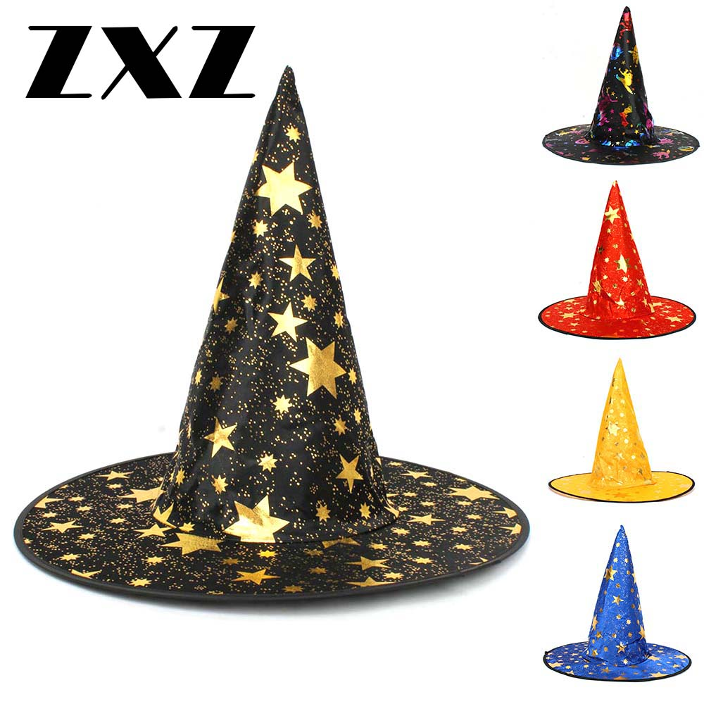 ZXZ Festive Party Supplies Hats Adult Womens Mens New Witch Sorceress Hat For Halloween Costume Accessory Stars Print Cap(China)