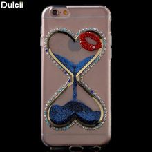 Dulcii Phone Cases for iPhone 6 s&6 Mobile Phone Bag 3D Heart Shaped Liquid Glitter TPU Protective Cover for iPhone 6s/6 Shell(China)