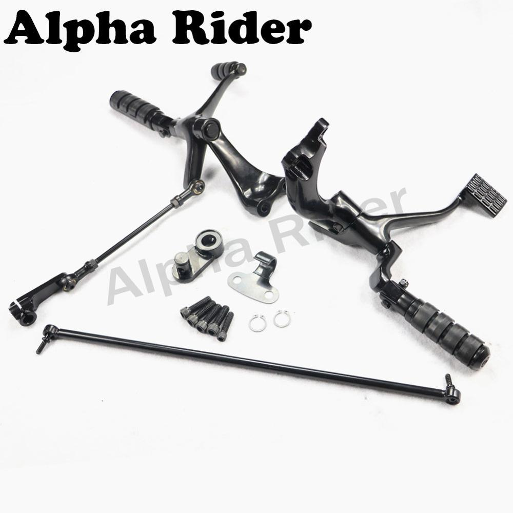 Black Forward Control Foot Pegs Levers Linkages For 14-17 Harley XL1200X XL883N