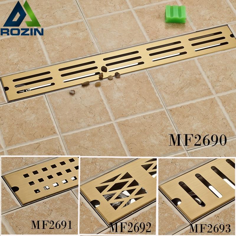 Luxury Golden 70cm Stainless Steel Anti-odor Floor Drain Bathroom Shower Floor Waste Drain<br><br>Aliexpress