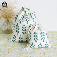 grain pattern print cotton linen fabric bag Clothes socks/underwear shoes dust receive cloth bag home Sundry kids toy storag bag