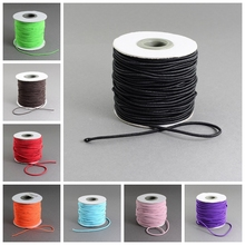 2mm; 40m/roll Round Elastic Cord Thread for Jewelry Making Findings, with Nylon Outside and Rubber Inside, Black Pink White Red