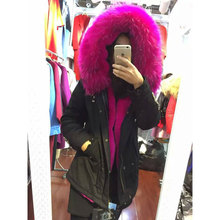 winter wear fashion rose pink faux fur lining black beading fur parka short style coats Mrs furs jacket(China)