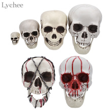 Lychee 1pc Plastic Skull Head Halloween Coffee Bars Ornament  Haunted House Room Escape Horrible Decoration