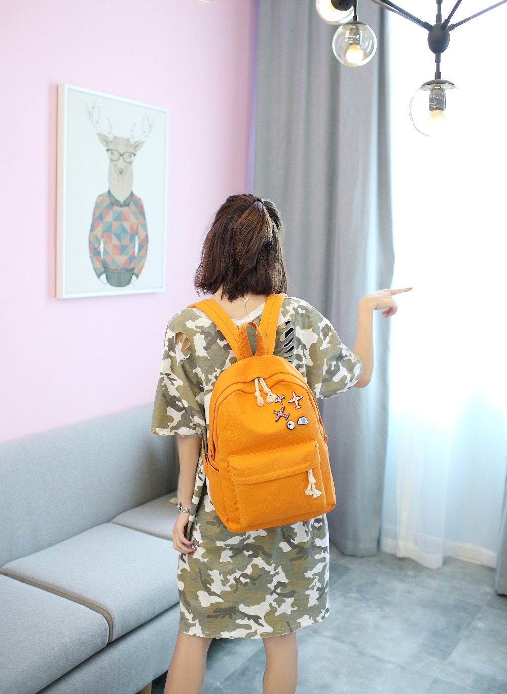 d735937d1f 2017 Women Canvas Backpack Cartoon Printing School Backpacks For Girl  Teenagers Students Casual Cute Travel Bags Large Capacity