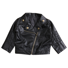 New Kids Girl Clothes Fashion PU Leather Jacket Biker Coat Autumn Clothing Overcoat Tops Black New(China)