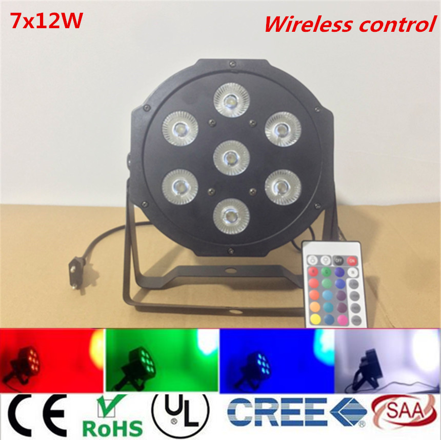 Wireless remote control  7x12W LED Flat SlimPar Quad Light 4in1 LED DJ Wash Light Stage Uplighting No Noise<br>