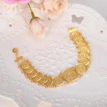 Sky talent bao coin Bracelet 22K Gold GF Islamic Muslim Arab Coin Bracelet Women Men Arab Country Middle Eastern Jewelry(China)