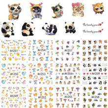 12 Designs Cute Animal Nail Stickers Panda/Rabbit Nail Tips Decals Water Transfer Designs Decor for Nails LAA1249-1260