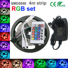 LED Strip 5050 Lamps DC12V Flexible Light+24key IR Remoter+2A Power Lighting 4M/Roll diode tape Home Decoration+contro+2A power