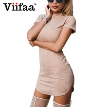 Buy Viifaa Summer Faux Suede Leather Dress Women Turtleneck Bodycon Casual Short Dress Sexy Mini T Shirt Dresses for $15.37 in AliExpress store
