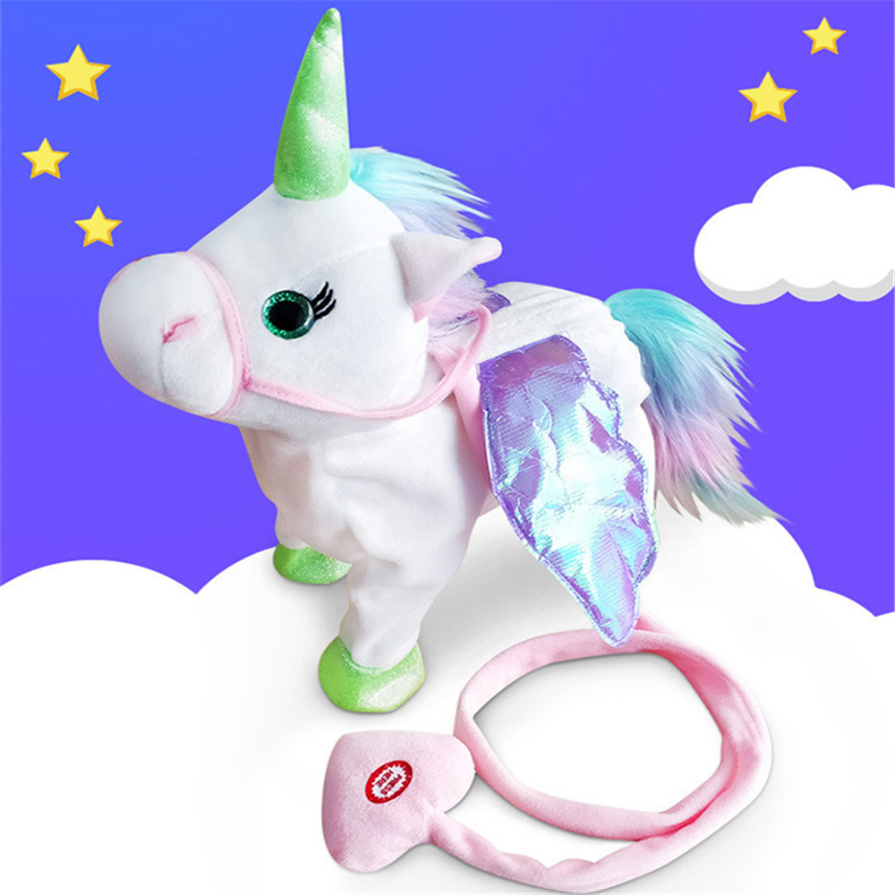 Electric Walking Unicorn Stuffed Animals Plush Musical Pony Toy