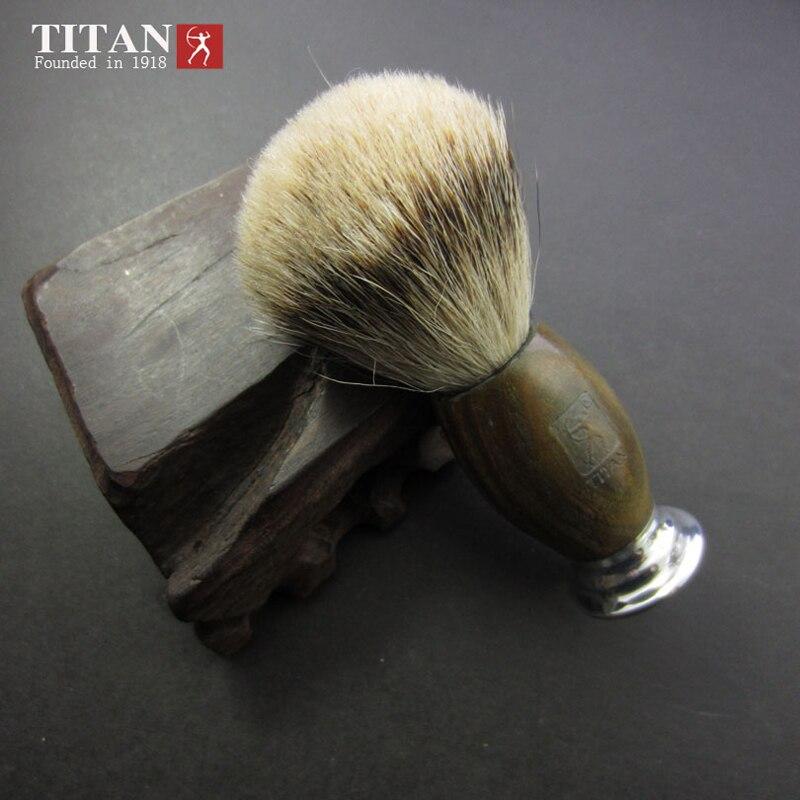 Titan Men Shaving Natural Silvertip Badger Brush Green Ebony Wood Handle Handmade Beard Brush<br>