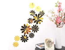 36pcs/lot 3D Flower Wall Sticker DIY Mirror Surface Decorative Home Wall Stickers PVC Home Decor Fridge Stickers Home Decoration(China)