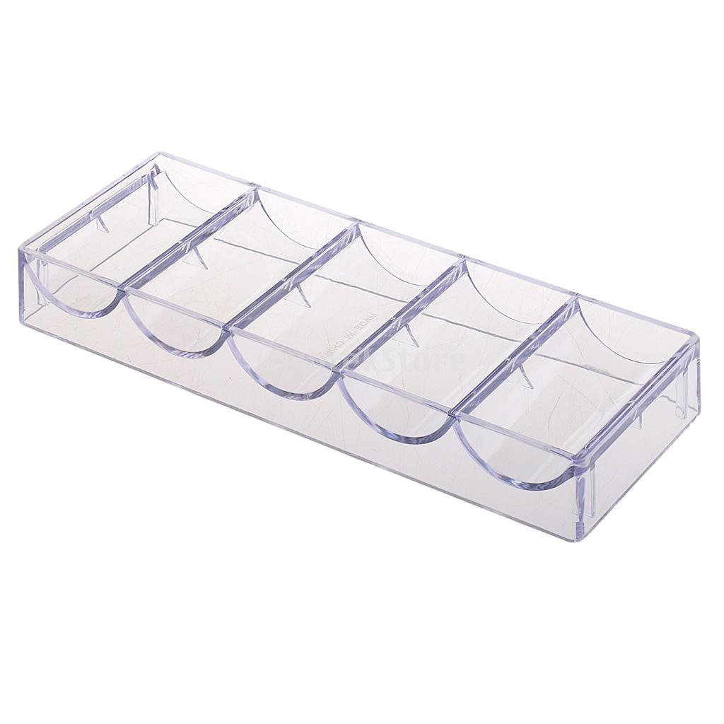 Casino Clear Acrylic Chip TrayPoker Chip Rack Holds 100 Chips