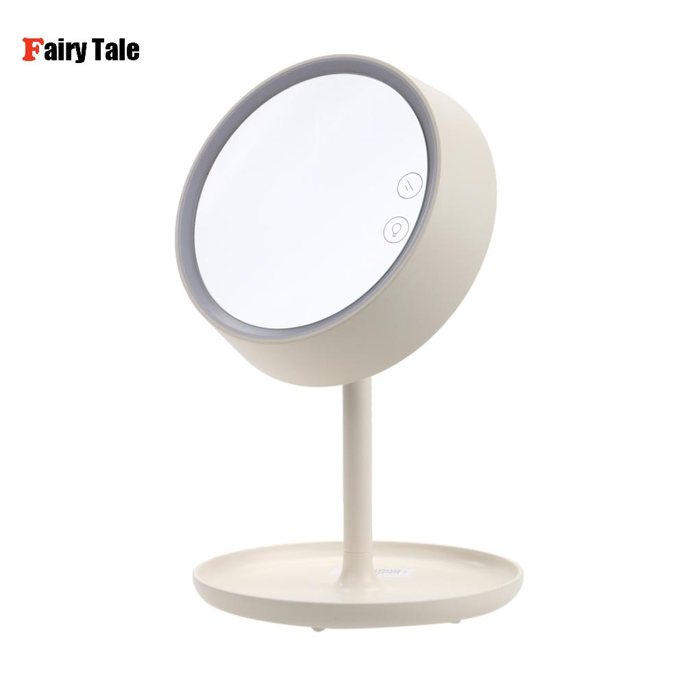 3-in-1 LED Makeup Mirror With Table Lamp for Bedroom Decor Table Storage Cosmetic Mirror USB Charging Rotation White/Pink Color<br>