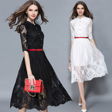 Womens Elegant Stand Collars Half Sleeve Office Casual Bodycon Sexy Lace Dress A-Line Runway Dress High Quality Party Vestidos(China)
