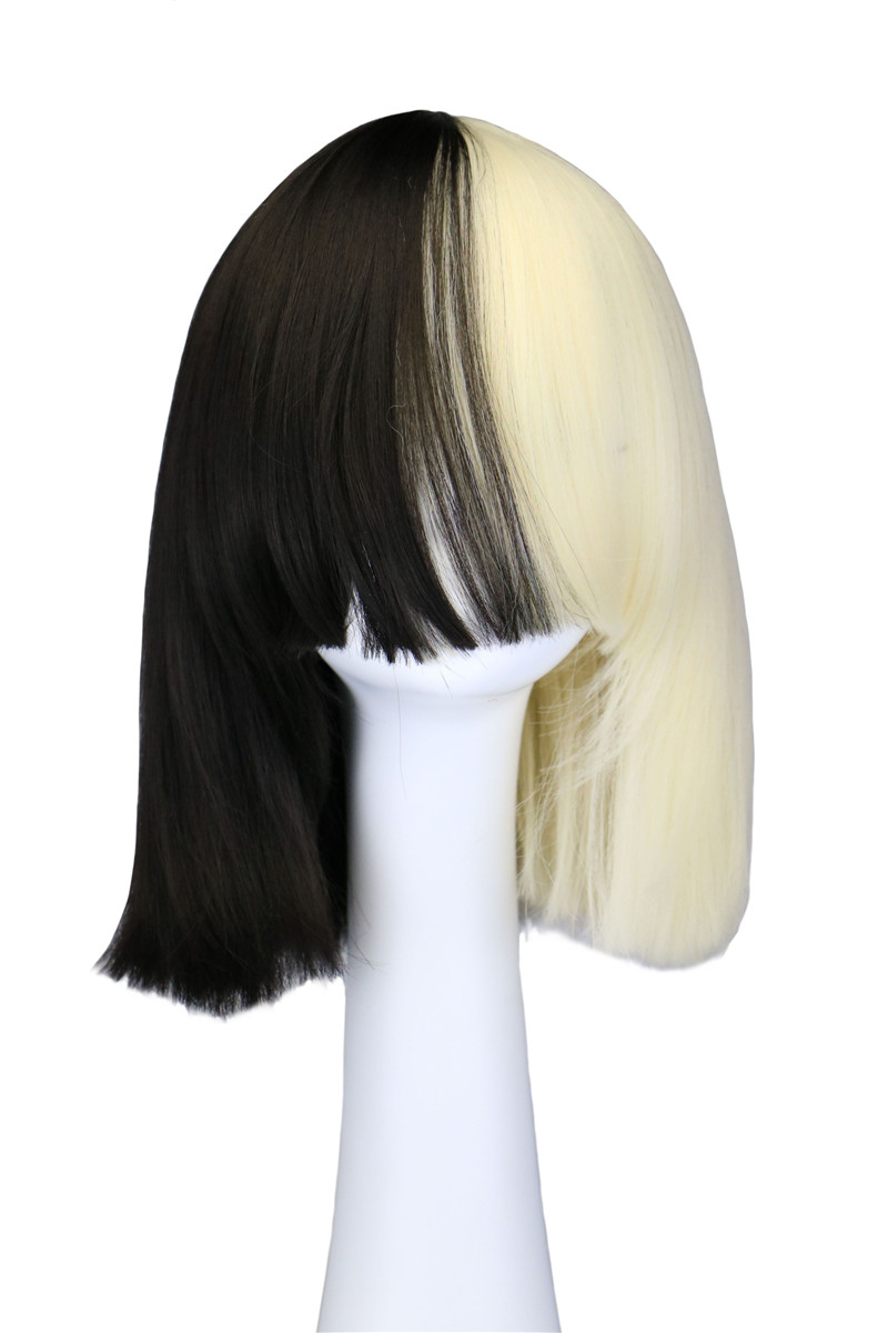 Sia Alive This Is Acting Half Black and Blonde Wig Costume Party Synthetic Hair Wigs Halloween Peruca Pelucas<br><br>Aliexpress