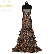 Sweetheart Crystal Beaded Tiered Ruffle Leopard Print Sexy Mermaid Prom Dress Women Formal Gown robe de soiree Long Party Dress(China)
