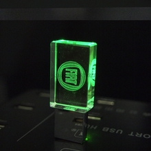 Pen drive Crystal Transparent LED light FIAT cars Logo 4GB 8GB 16GB 32GB glass USB Flash Drive Memory Stick Free LOGO Over 20