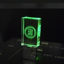Pen drive Кристалл Прозрачный свет автомобилей FIAT Логотип 4 ГБ 8 ГБ 16 ГБ 32 ГБ стекла USB Flash Drive Memory Stick ЛОГОТИП Бесплатно На 20