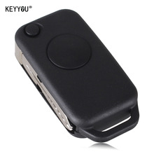 KEYYOU 1 Button Flip Folding Keyless Entry Remote Key Fob Case Shell for Mercedes Benz C E S ML SL ML55 AMG S500 SL500