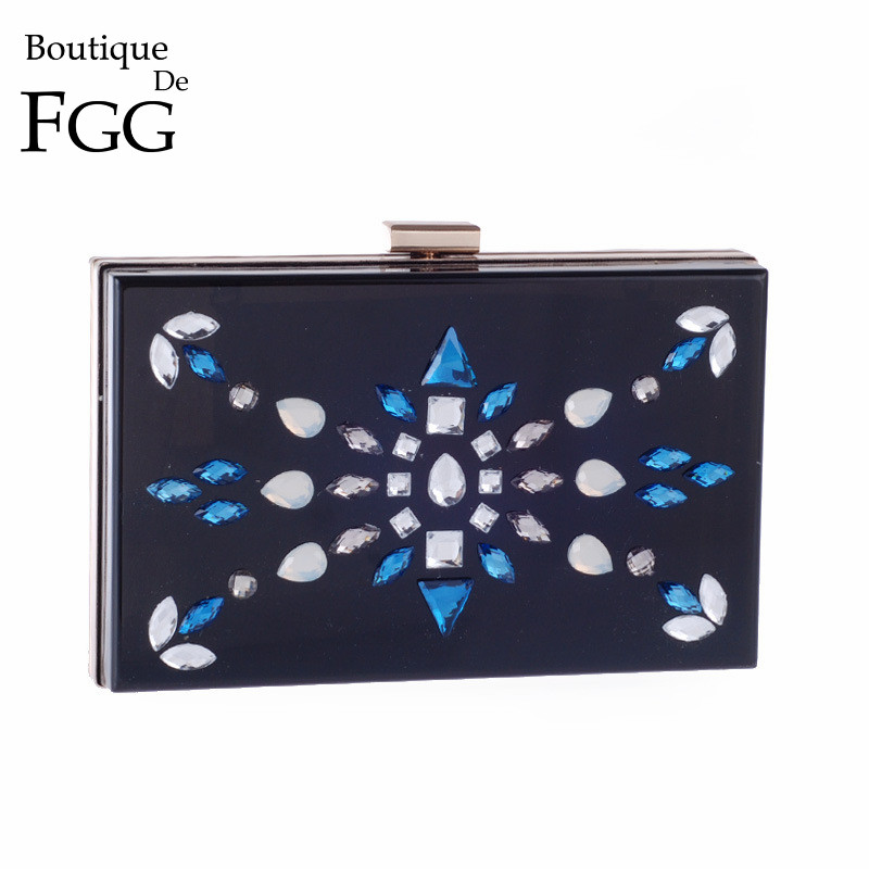 European and American Brand Women Black Acrylic Crystal Evening Clutch Bag Ladies Party Metal Clutches Chain Shoulder Hadnbag<br>