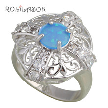 Engagement designer Wholesale & Retail Fashion Jewelry Blue Fire Opal Silver stamped Rings for women USA #7.5  #6.5 OR346