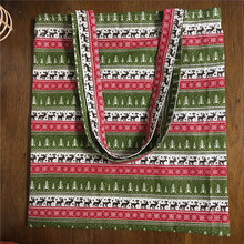 YILE Cotton Linen Eco Shopping Tote Shoulder Bag Print Tree Deer Christmas Theme L14(China)