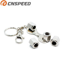CNSPEED Free shipping Car Wheel Tire Valve Caps with Mini Wrench Keychain For BENZ BMW Honda Toyota Volkswagen Nissan 4PCS/Pack