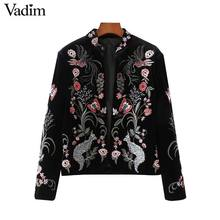 Vadim vintage floral bird embroidery velvet jackets open stitch design long sleeve retro casual coat outerwear tops CT1545(China)