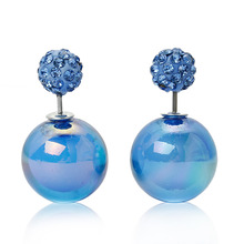 Doreen Box Acrylic Double Sided Ear Post Stud Earrings Ball Blue AB Color Blue Rhinestone 8mm Dia. 16mm Dia.,1 Pair