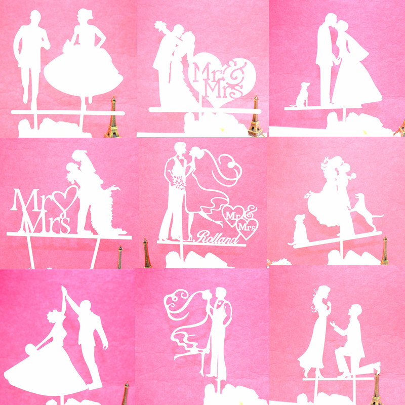 Glitter Cake Topper Bride Groom Cake Cupcake Toppers Wedding Cake Flags For Kids Birthday Party Cake Toppers Decor 33 style