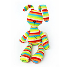 40CM Rainbow Rabbit With Tags Mamas & Papas Iridescent Baby Bunny For Baby Figures Plush Toys Mamas And Papas Rabbit For Kids(China)