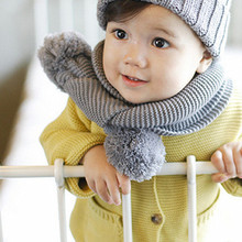 spring autumn winter new with two wool ball girl long scarf kids wear scarves children accessories warm decoration sets