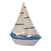 Decoration wood crafts mini sailboat models Flag Table Ornament(China)